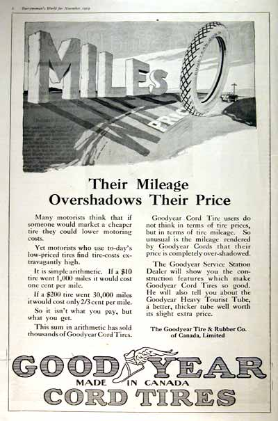 1919 Goodyear Cord Tires Vintage Print Ad #001660