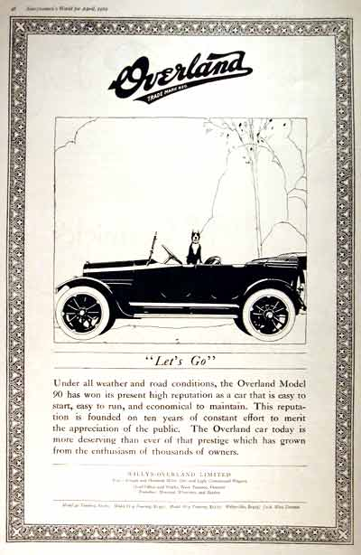 1919 Willys Overland 90 Vintage Print Ad #001644