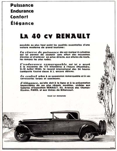1928 Renault 40hp Roadster Vintage French Ad #000221