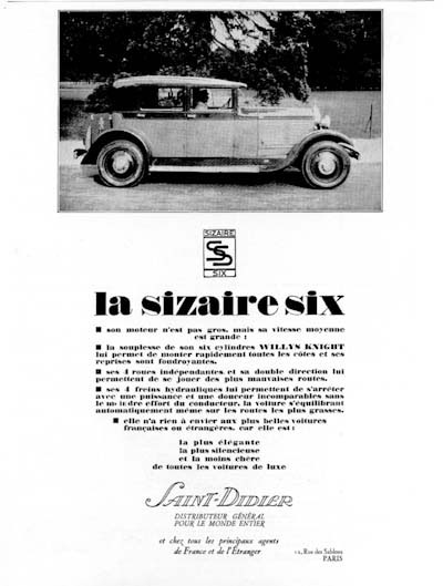 1928 Sizaire Six Sedan Vintage French Ad #000237