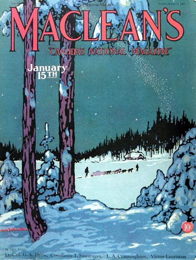 1929 Macleans Cover ~ Winter Scene #007924