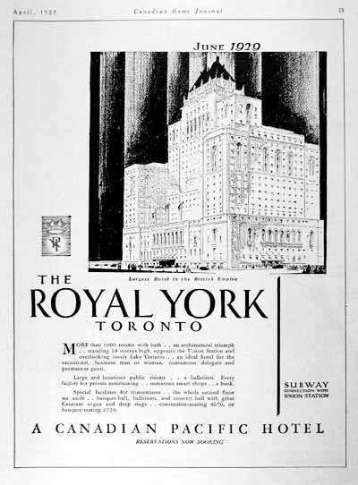 1929 Royal York Hotel Vintage Ad #002000