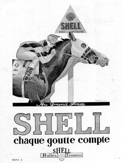 1929 Shell Motor Oil Vintage French Ad #000265