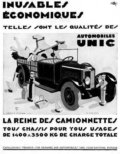 1929 Unic Pickup Vintage French Ad #000256