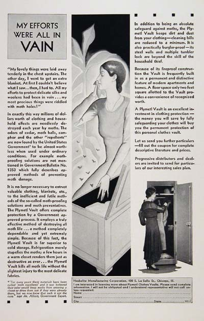 1930 Plymetl Clothes Vault #007783