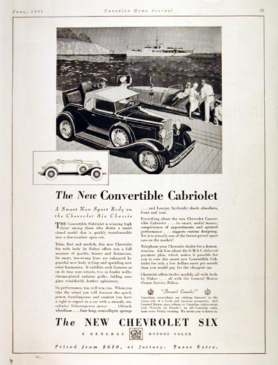 1931 Chevrolet Convertible Cabriolet Classic Ad #008126