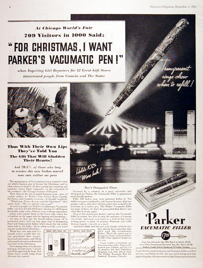 1933 Parker Vacumatic Fountain Pen #007982
