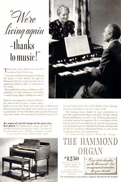 Vintage hammond chord organ ads