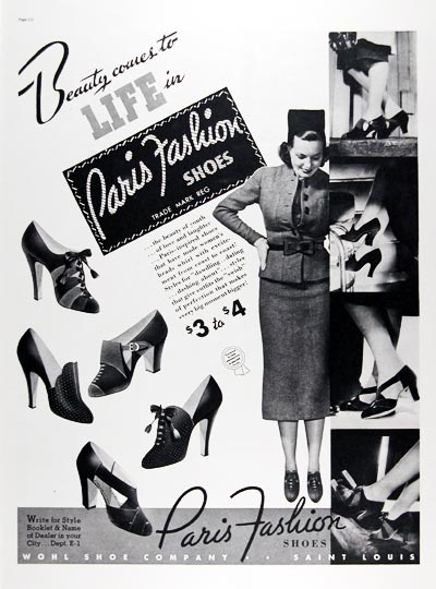 1937 Paris Fashion Shoes #024254