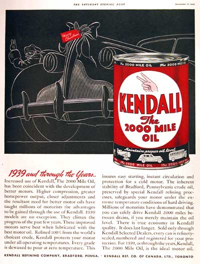 1938 Kendall Motor Oil Classic Vintage Print Ad