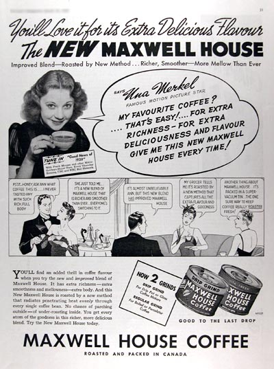 1939 Maxwell House Coffee ~ Una Merkel #017362