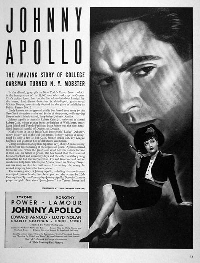 1940 Johnny Apollo Movie #006655