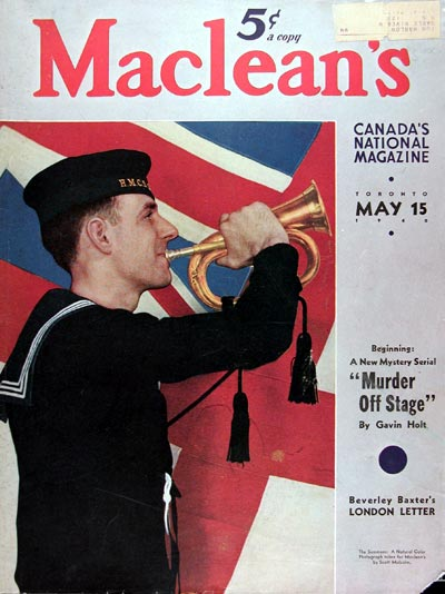 1940 Macleans Cover ~ Canadian Navy Bugler #011013