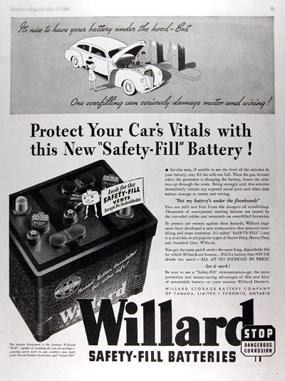 1940 Willard Safety Fill Battery #011019