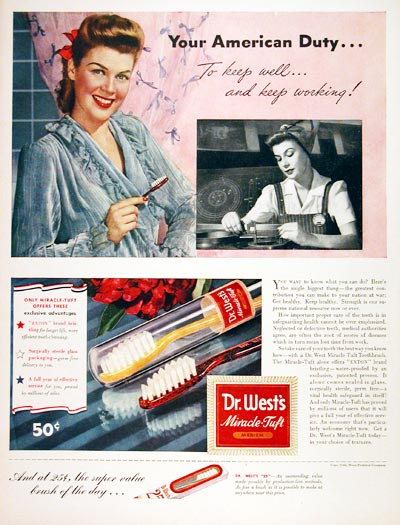 1943 Dr. West Toothbrush #007038