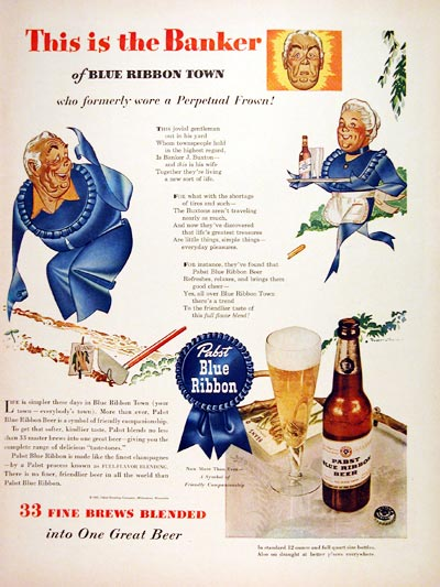 1943 Pabst Blue Ribbon Beer #007053