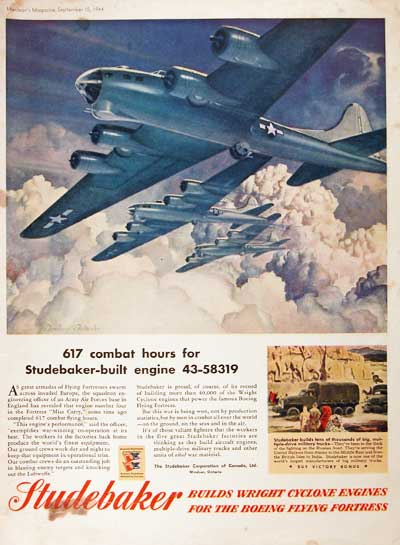 1944 Studebaker Flying Fortress Vintage Ad #00400