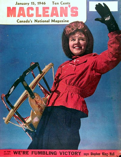 1946 Macleans Cover ~ Winter Sledding #010931