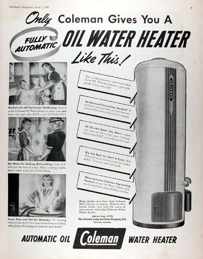 1947 Coleman Hot Water Heater #010882