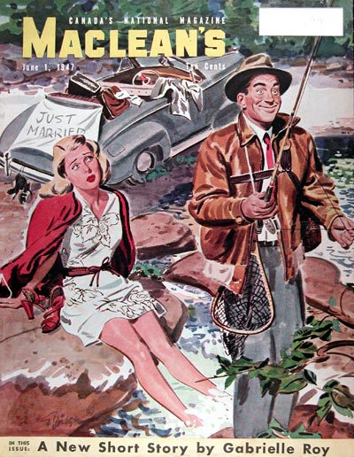 1947 Macleans Cover ~ Fishing Trip Honeymoon #010879