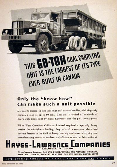 1948 Hayes Lawrence Coal Truck #004374