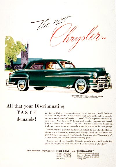 1949 Chrysler Windsor Sedan Classic Ad #001562