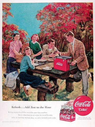 1950 Coca Cola Picnic Classic Vintage Print Ad