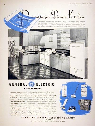 Retro Kitchen Appliance on 1950 Ge Kitchen Appliances Classic Vintage Print Ad