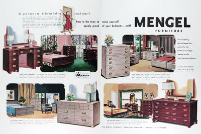 1950 Mengel Bedroom Furniture Classic Vintage Print Ad
