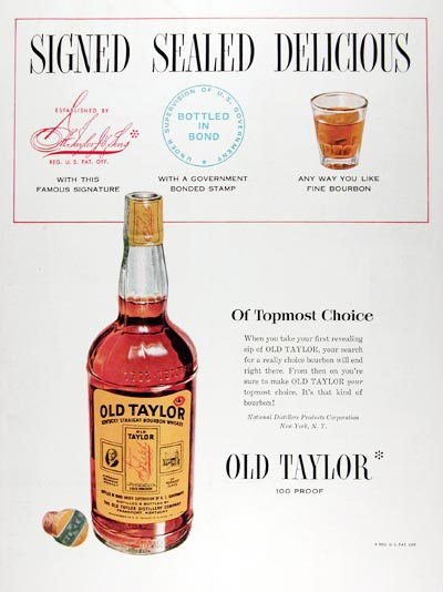 1950 Old Taylor Whiskey #024421