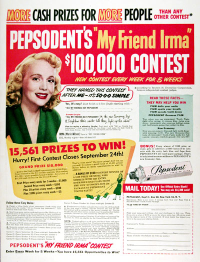 1950 Pepsodent Toothpaste Contest #023652