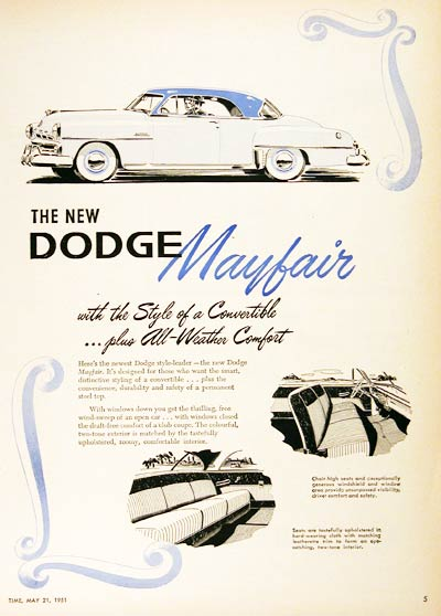 1951 Dodge Mayfair Vintage Ad #000694