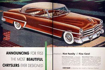 1953 most beautiful chryslers ever designed vintage ad. Black Bedroom Furniture Sets. Home Design Ideas