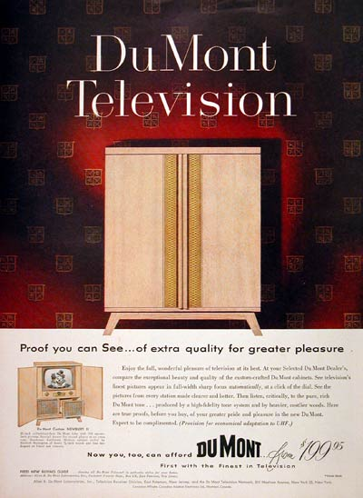 1953 dumont television set classic vintage print ad for Domon television