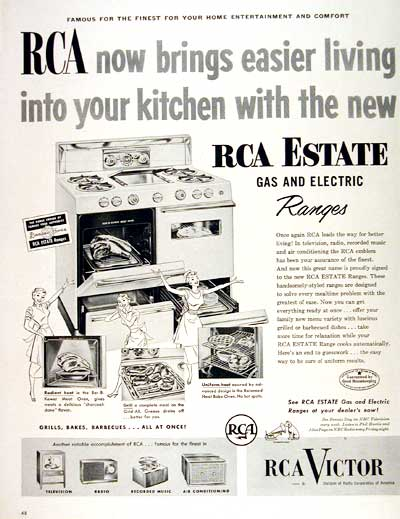1953 Rca Gas Amp Electric Range Classic Vintage Print Ad