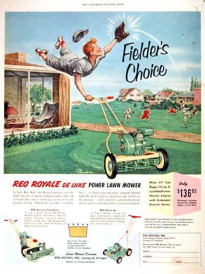 1953 Reo Royale Lawn Mower Classic Vintage Print Ad