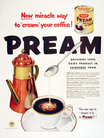 1954 Pream Coffee Cream #004477
