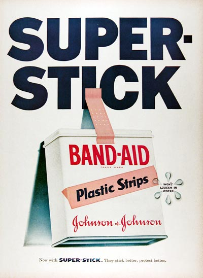 1956 Band Aid Strips Vintage Ad #024788