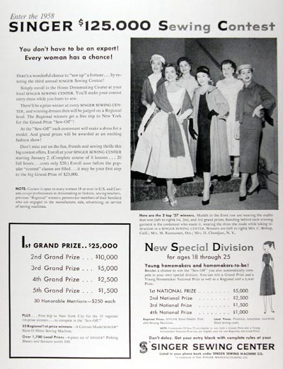 1958 Singer Sewing Contest #024840