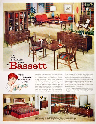 Bassett Furniture Pricing on 1959 Bassett Furniture Classic Vintage Print Ad