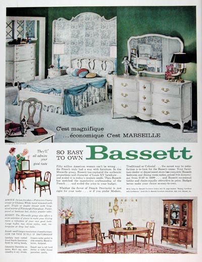 Antique French Provincial Furniture on 1960 Bassett Marseille Furniture Classic Vintage Print Ad