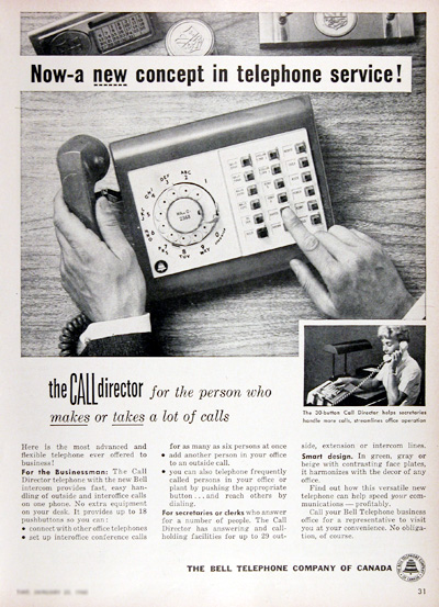 1960 Bell Telephone Call Director Vintage Ad #025334