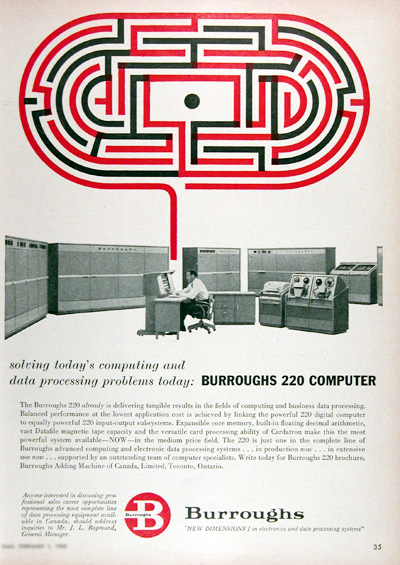 1960 Burroughs 220 Computer System Vintage Ad #025337