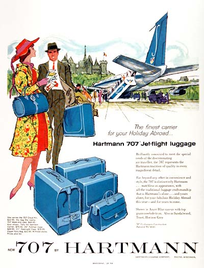 retro luggage vintage ad Hartmann 707 Just Peachy, Darling