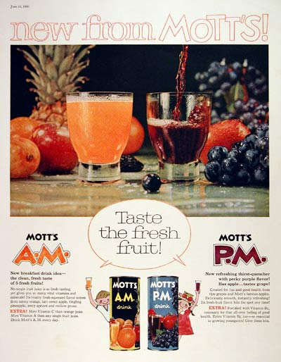 1960 Mott's Fruit Juices #004331