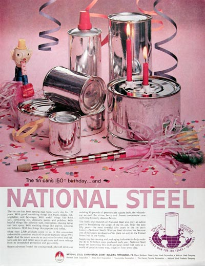 1960 National Steel Tin Can #017719