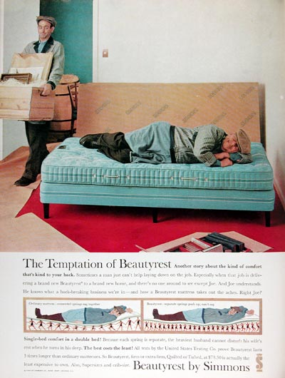 1960 Simmons Beautyrest Mattress Classic Vintage Print Ad