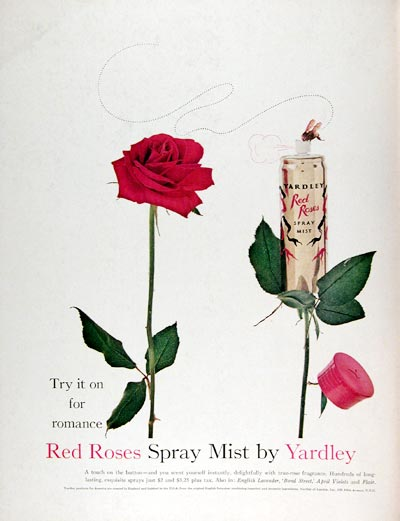 1960 Yardley Red Roses Mist Perfume #015346