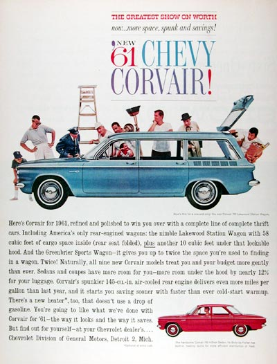 1961 Chevrolet Corvair 700 Sedan Lakewood Wagon #011353