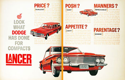 Dodge on 1961 Dodge Lancer Line Classic Vintage Print Ad